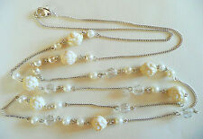 VERY LONG SILVER NECKLACE_CREAMY FLOWERS, WHITE PEARLS & FACETED CLEAR BEADS_NEW