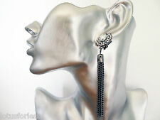 Stunning Diamante Dangle Drop CLIP ON Earrings with Chain Tassels 9 cms