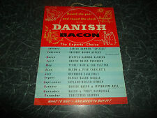 Vintage Retro Illustrated Danish Bacon Calendar for 1958 With Recipes Nostalgic