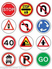Road Signs Learner Driver edible ICING cupcake toppers NOT rice paper x12