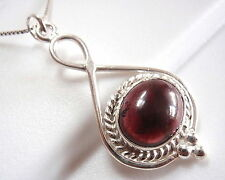 Garnet 925 Sterling Silver Pendant with Rope Style Accent New
