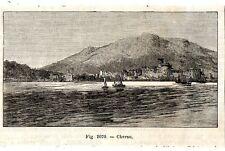 Stampa antica Isola di CRES Cherso Istria Croazia 1889 Old Print starinski ispis