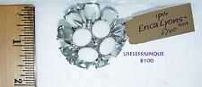 ERICA LYONS ANTIQUE SILVER PLATED PIN BROOCH WITH RHINESTONES #8100