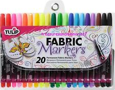 Tulip Permanent FABRIC MARKERS 20 COLORS Fine Bullet Tip