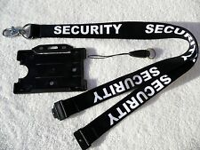 Security Black/White Neck Lanyard & Strong Metal Clip + ID Card/Badge Holder