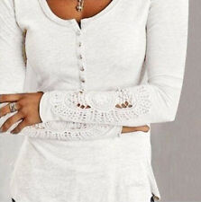 Women's Fashion Long Sleeve Shirt Casual Lace Blouse Loose Cotton Tops T Shirt