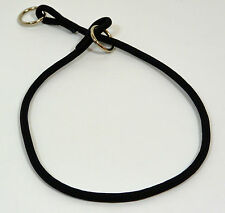 "NEW Black Nylon Round Braided Dog Choke Collar 22"" Large"