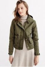 NWT Abercrombie womens Large green twill button jacket coat