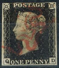 GB 1840 1d Penny Black SG2 Pl 6 (Q-D) Fine Used 4 Good Margins Neat Red MX