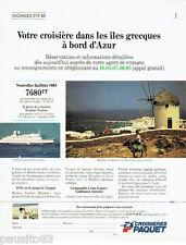 PUBLICITE ADVERTISING 016  1985   Croisières PAQUET  iles grecques Mykonos