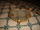 Stunning Gilded Gold Metal Cherub Angel Jewelry Dish-Frosted Glass Bottom-Floral