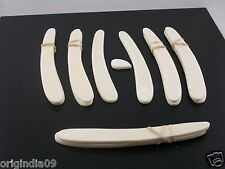 "6 pair,Sraight Razor Blank, smooth white camel bone , with wedge,5 1/2""(005)"
