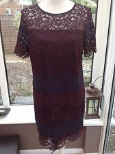 Warehouse Plum / Burgundy & Navy Lace Shift Dress - Size 16 - Wedding Cocktail