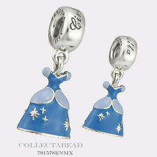 Authentic Pandora Silver Enamel Dangle Disney Cinderella Dress Bead 791578ENMX