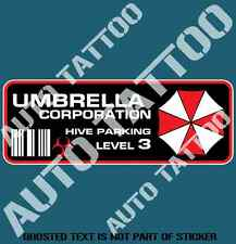 REVERSE PRINT UMBRELLA CORP PARKING DECAL STICKER STICKER REANIMATED LIVING DEAD