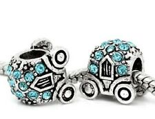 CINDERELLA PRINCESS BLUE RHINESTONE PUMPKIN CARRIAGE CHARM BEAD