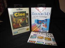 Lot of 2 SEGA Games Clue And Zaxxon 3-D Sega  Case And  Cartridge