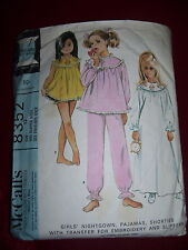 1966 McCALL'S #8352-GIRLS GRANNY STYLE PAJAMAS-NIGHTGOWN & BABY DOLL PATTERN  12