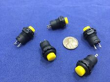 5 Pieces Yellow small N/O Momentary 12mm push button Switch round 12v on off C2