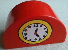 LEGO Duplo Uhr Zeitanzeige Bahnhof rot halbrund Eisenbahn halbkreis Uhrwerk 2