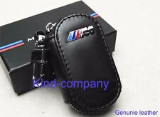 1*A AUTO Car Black Genuine Leather ///M Remote Key Bag Case Holder Cover For BMW