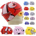R6H1 Cute Children Cartoon Swimming Cap Silicon Diving Waterproof Fish Shark
