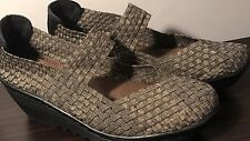 BERNIE MEV BM Women's Shoes Wedge Heels Silver Bronze Taupe Size 41 10