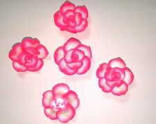 20 Fimo Polymer Clay Pink  Flower Rose Fimo Beads 25mm