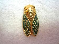 Rene Gouin Pin Cicada Cricket Bug Luck Charm Green Enamel Guilloche Signed Mint