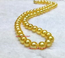 "AAAAA 18""9-10mm REAL NATURAL round south sea GOLDEN yellow pearl necklace 14K"