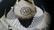 Statement Ethnic Aztec Vintage Art Deco Beaded Silver Pin Bib Collar Necklace