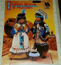J479 ANNIE'S ATTIC 1993, CROCHET INDIAN BRAVE & MAIDEN