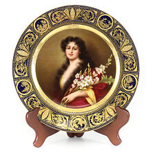 """Royal Vienna Hand painted Portrait Cabinet Plate, """"Gladiola"""" signed Buck C1890"""