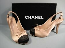 "CHANEL BEIGE BLACK SATIN HIDDEN PLATFORM ""CC"" SLINGBACK PUMPS HEELS 36/5.5 NEW"