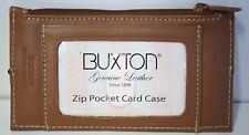"BUXTON Leather BROWN Business Envelope CARD Case Holder Work ORGANIZE 5"" x  3"""