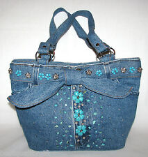 NEW WESTERN BLUE DENIM JEAN & FAUX TURQUOISE STONE+SILVER TONE TOTE,HAND BAG
