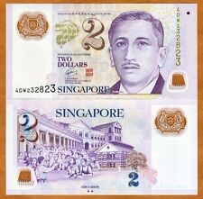 Singapore, 2 Dollars, ND (2011), Polymer, P-46-New, UNC    two triangles