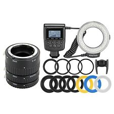Meike Auto Focus Macro Extension Tube + RF550D 48 LED Ring Flash Light for Nikon