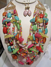 Multi Layers Multi Colorl Lucite Bead Glass Seed Bead Necklace Earring Set