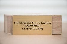 Engraved Memorial Plaque, Door Sign, Bench Plate in Silver or Brass Effect