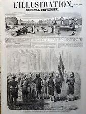L'ILLUSTRATION 1854 N 582 LE DRAPEAU OFFERT PAR LA POPULATION ALGERIENNE A.LL.MM