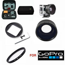 WIDE ANGLE MACRO LENS + UV FILTER + HARD CASE FOR GOPRO HERO4 SILVER EDITION