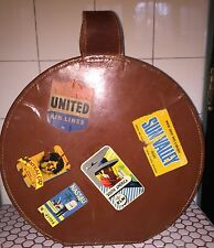 Vintage 1940s 40s Travel Stickers Decals Round Brown Leather Luggage Suitcase