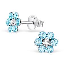 925 Sterling Silver Crystal Blue Flower Kids Girls Women Stud Earrings Gift