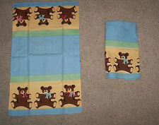 2 COTTON BABY BOY TEDDY BEAR TOWELS NEW