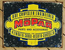 MOPAR TIN SIGN Chrysler Parts metal vintage logo 1314