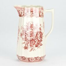 NEW Antique style Red Cream Pitcher water Jug Ornate floral porcelain 20.5cm/8""