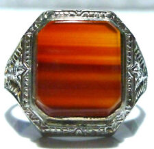 INCREDIBLE OSTBY BARTON STERLING SILVER AGATE MENS SHIELD ESTATE RING SIZE 10.75