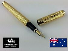 JINHAO 1200 Dragon Embossed Gold Fountain Pen Medium Nib + 2 Black Cartridges
