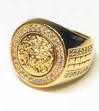 Iced Out 24K Gold Filled Medusa Mens Versace Pattern Ring - size 7